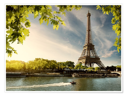 Poster Premium Eiffel tower on the river Seine, France