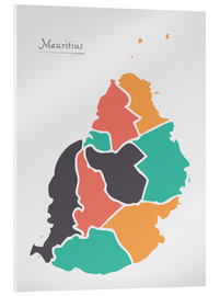 Stampa su vetro acrilico  Mauritius map modern abstract with round shapes - Ingo Menhard