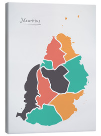 Stampa su tela  Mauritius map modern abstract with round shapes - Ingo Menhard