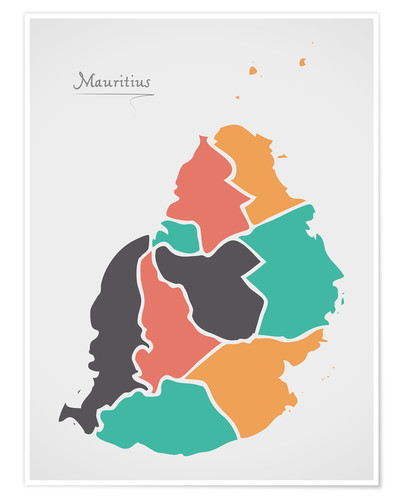 Poster Premium Mauritius map modern abstract with round shapes