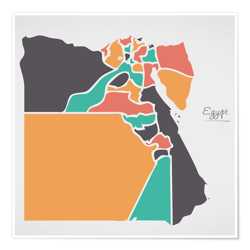 Poster Premium Egypt map modern abstract with round shapes