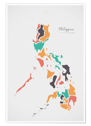 Poster Premium Philippines map modern abstract with round shapes