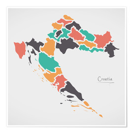 Poster Premium Croatia map modern abstract with round shapes