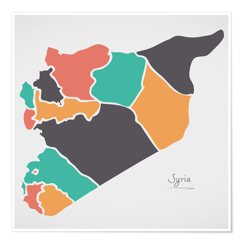 Poster Premium Syria map modern abstract with round shapes
