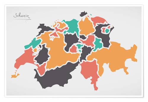 Poster Premium Switzerland map modern abstract with round shapes