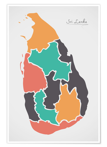 Poster Premium Sri Lanka map modern abstract with round shapes
