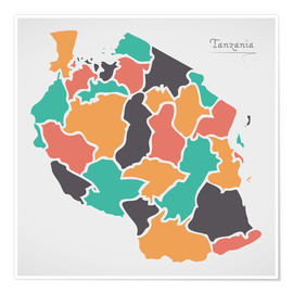 Poster Premium Tanzania map modern abstract with round shapes