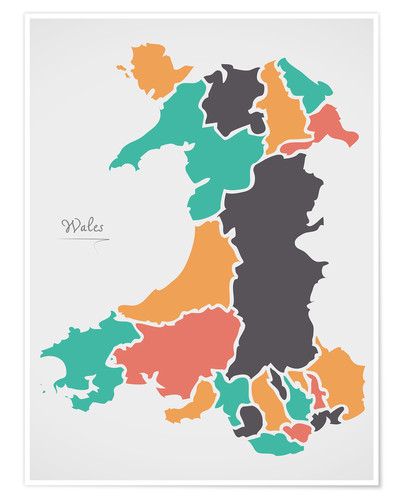 Poster Premium Wales map modern abstract with round shapes
