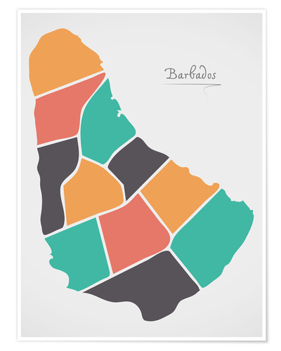 Poster Premium Barbados map modern abstract with round shapes
