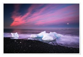 Poster Premium Icebergs on the beach in Iceland