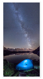 Poster Premium Panoramic of Milky Way on Mont Blanc, France