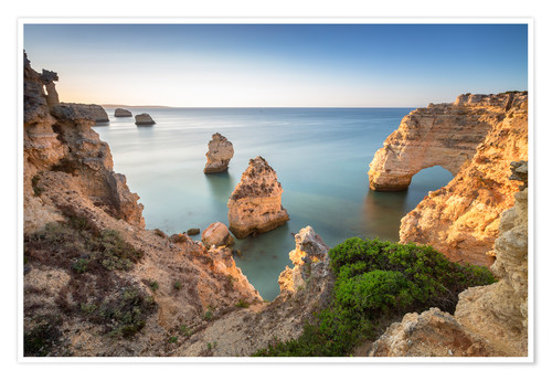 Poster Premium Cliffs at sunrise, Praia Da Marinha, Algarve, Portugal