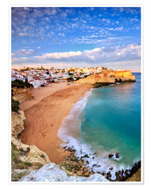 Poster Premium Panoramic of Carvoeiro at sunset, Algarve, Portugal