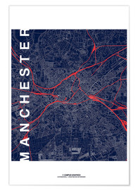 Poster Premium Manchester Map Midnight Map