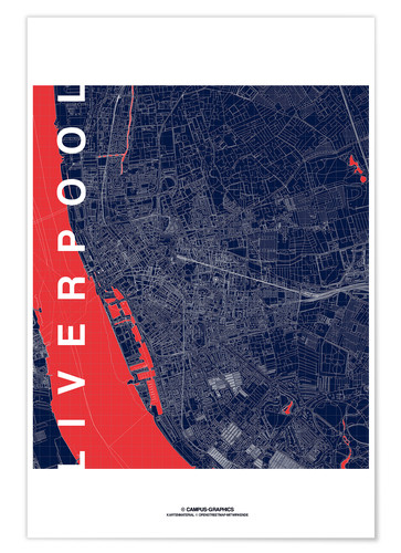 Poster Premium Liverpool Map Midnight City
