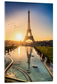 Vetro acrilico  Romantic sunrise at the Eiffel Tower in Paris, France - Jan Christopher Becke