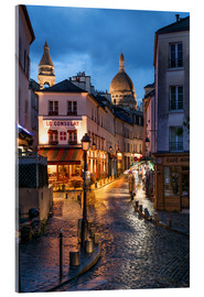 Vetro acrilico  Street in Montmartre with Basilica of Sacre Coeur, Paris, France - Jan Christopher Becke