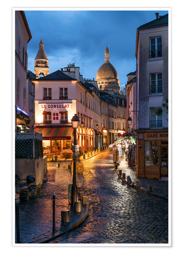 Poster Premium Street in Montmartre with Basilica of Sacre Coeur, Paris, France