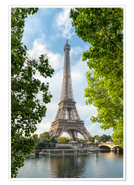 Poster Premium Eiffel Tower on the Seine River, Paris, France