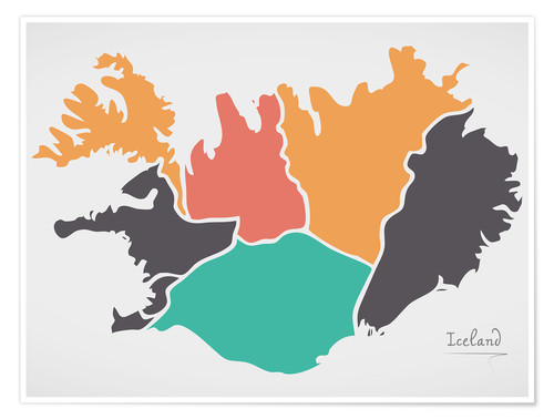 Poster Premium Iceland map modern abstract with round shapes