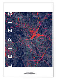 Poster Premium Leipzig Map Midnight city