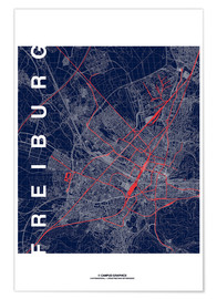 Poster Premium Freiburg Map Midnight City