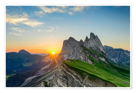 Poster Premium Sunrise on Seceda with Geisler group