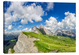 Stampa su tela  Alps panorama on Seceda with Mount Geisler - Dieter Meyrl