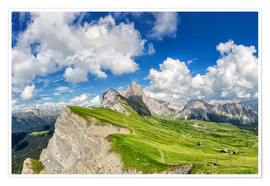 Poster Premium Alps panorama on Seceda with Mount Geisler