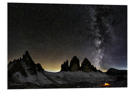 Stampa su PVC  Lonely Tent under Milky way over Tre cime - Dolomites - Dieter Meyrl