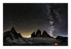 Poster Premium Lonely Tent under Milky way over Tre cime - Dolomites