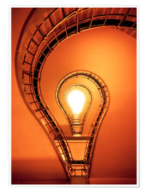 Poster Premium Light bulb in staircase