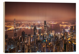 Stampa su legno  Hong Kong lights in the morning - Dennis Fischer