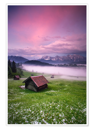 Poster Premium Sunset in the Alps, Germany, Karwendel