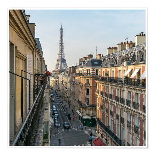 Poster Premium Historic house facades and Eiffel Tower in Paris, France