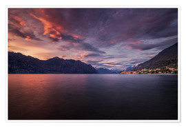 Poster Premium Sunset at Lake Garda with view on Malcesine