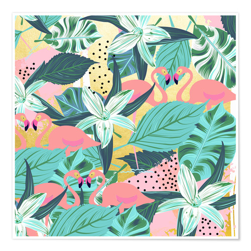 Poster Premium Flamingo Tropical