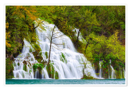 Poster Premium Spring at the waterfalls of Plitvice