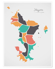 Poster Premium Mayotte map modern abstract with round shapes