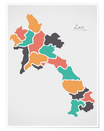 Poster Premium Laos map modern abstract with round shapes