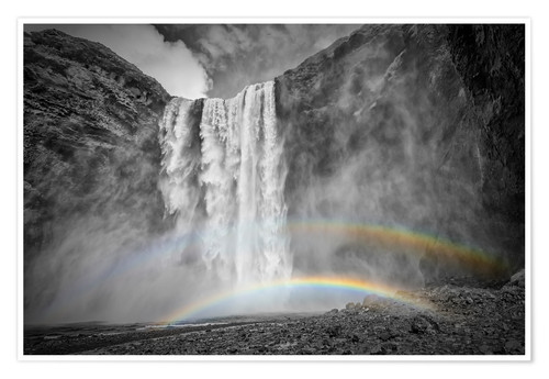 Poster Premium ICELAND Skogafoss with a double rainbow