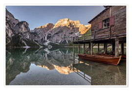 Poster Premium Braies Lake South Tyrol Italy