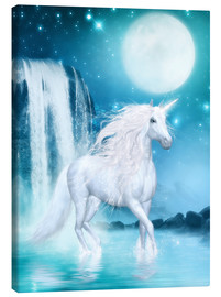 Stampa su tela  Unicorn - Waterfalls and Moon - Dolphins DreamDesign