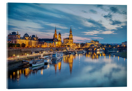 Stampa su vetro acrilico  Old Town Dresden at night - Sabine Wagner