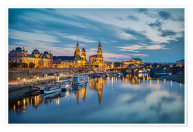 Poster Premium  Old Town Dresden at night - Sabine Wagner