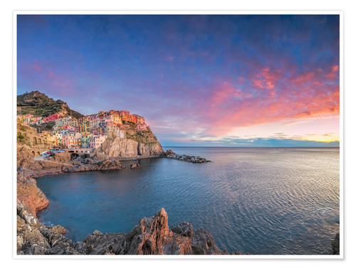 Poster Premium Manarola at dawn, Cinque Terre National Park, Liguria, Italy