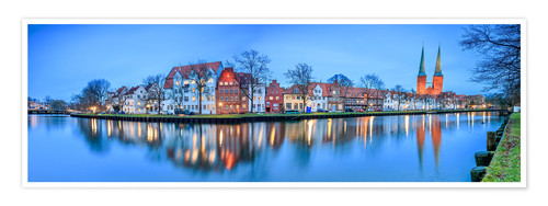 Poster Premium Panoramic of Lubeck reflected in river Trave, Germany
