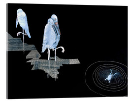 Stampa su vetro acrilico  Three Storks and a Frog in a Pond - Jean Dunand