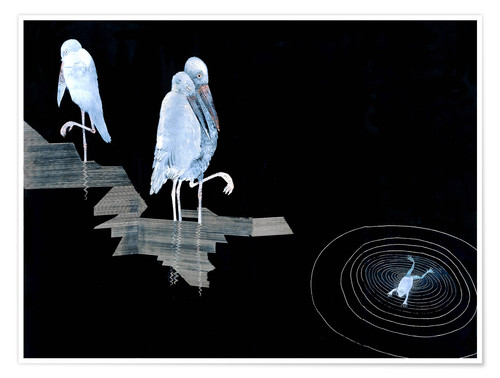 Poster Premium Three Storks and a Frog in a Pond