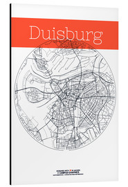 Alluminio Dibond  Duisburg map city black and white - campus graphics